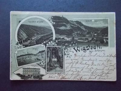 Opava Vítkov Wigstadtl litografie papírna Maria ve skále DA 1898 !