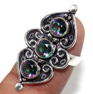 prsten stříbrný s kamenem mystic topaz vel.53