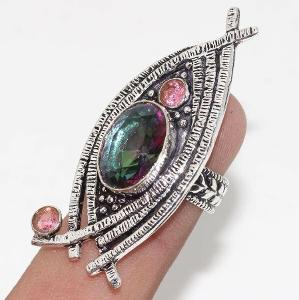 prsten stříbrný s kamenem mystic topaz a garnet vel.56