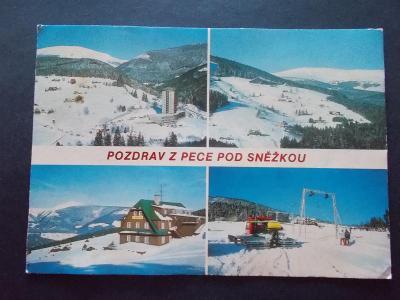 Krkonoše Riesengebirge Pec pod Sněžkou hotel Horizont sněhová rolba