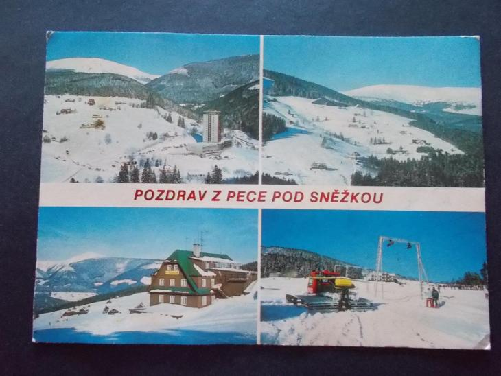 Krkonoše Riesengebirge Pec pod Sněžkou hotel Horizont sněhová rolba - Pohlednice