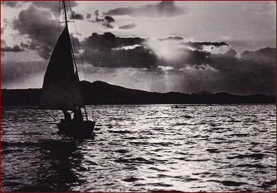 Máchovo jezero * plachetnice, lodě, západ slunce * Česká Lípa * V780