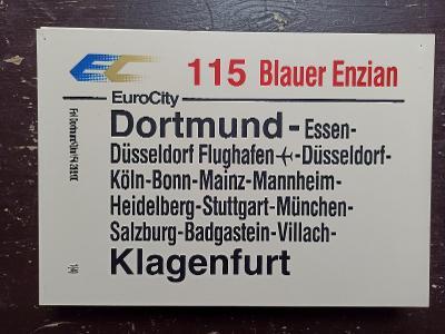 Směrová cedule DB - EC 115 BLAUER ENZIAN