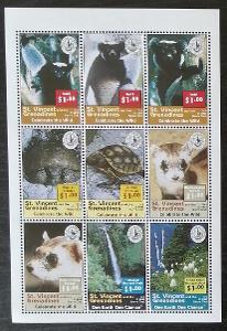 Svatý Vincent 1997 Mi.4154-2 9€ Století Sierra Club, opice a želvy