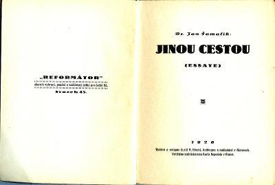 Šamalík Jan: Jinou cestou 1926