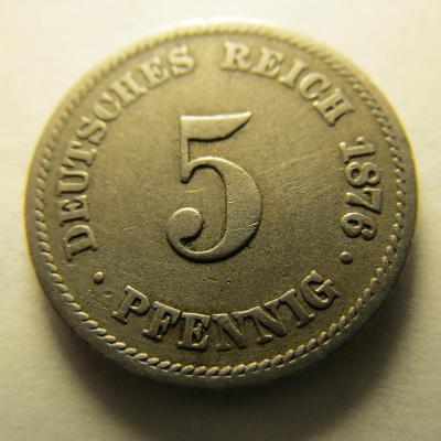 Německo, Kaiser Reich , 5 pfennig z roku 1876 A