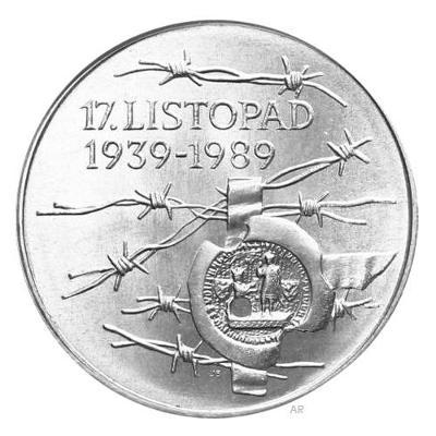 Vzácná stříbrná mince 100 Kčs 1989 - 17. listopad 1939 - pefektní stav