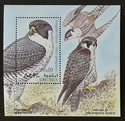 Eritrea 1998 Bl.7 6€ Afričtí ptáci a fauna, Falco peregrinus