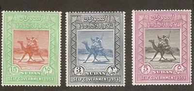 Sudán 1954 ** jazdec na ťave komplet mi. 148-150