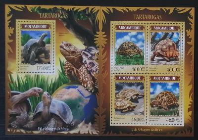 Mozambik 2014 Mi.7260-3+Bl.892 21€ Suchozemské želvy, plazi Mozambiku