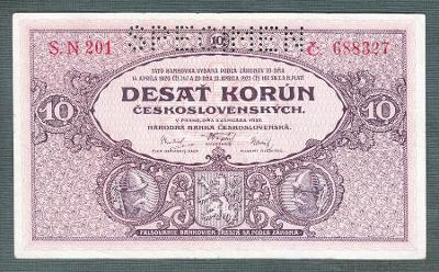 10 korun 1927 serie S.N327 perf. stav 1