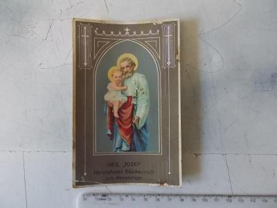 Pohlednice přání  svátek svatý  Josef litografie