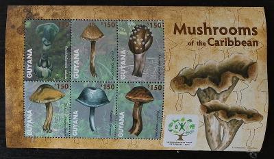 Guyana 2011 Mi.8222-7 9€ Houby a flora Karibiku, mykologie
