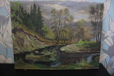 obraz-krajina s potokem sign.