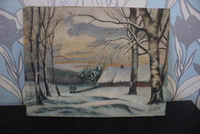 obraz-zimní krajina s chalupou sign.