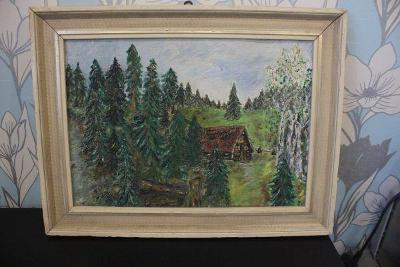 obraz-chalupa v lese