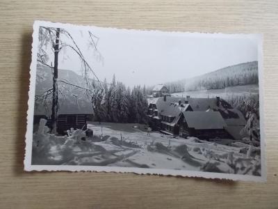 Orlické hory  Deštné zima Hotel Šerlišský mlýn razítko nájemce