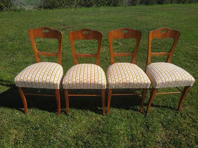 BIEDERMEIER 4x linkou interzované židle v ořechové dýze