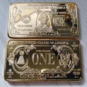 USA Sběratelská Cihlička 1 dolar dollar cihla Washington pozlacená