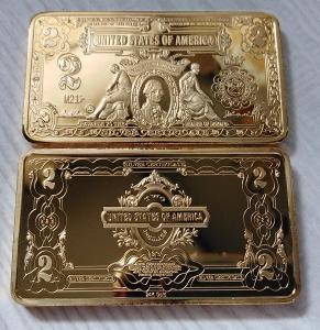 USA Sběratelská Cihlička 2 dolary dollars cihla pozlacená