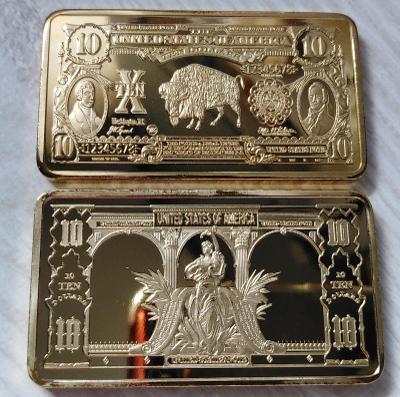USA Sběratelská Cihlička 10 dolarů dollars buffalo cihla pozlacená