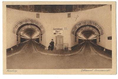 Pohlednice, Hamburg, Německo, tunel, MF, 39/61