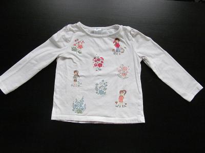 Dívčí bílé tričko s obrázky, C&A, vel. 104