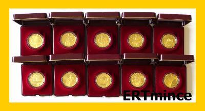 Kompletní Sada 10 zlatých mincí Hrady ČR 2016 - 2020 PROOF