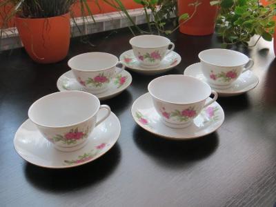Čínský porcelán - souprava 5 hrnků s podšálky