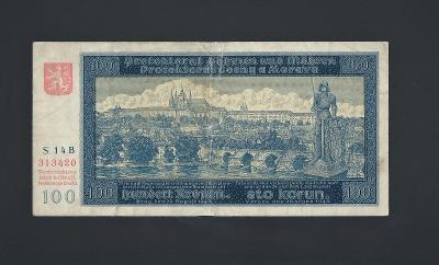 100 K 1940 I.vydání vzácná NEPERFOROVANÁ série B protektorát