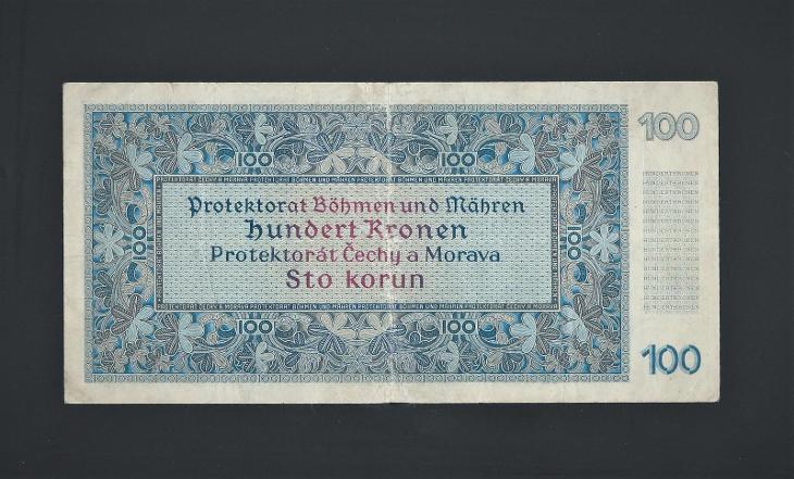 100 K 1940 I.vydání vzácná NEPERFOROVANÁ série B protektorát - Bankovky