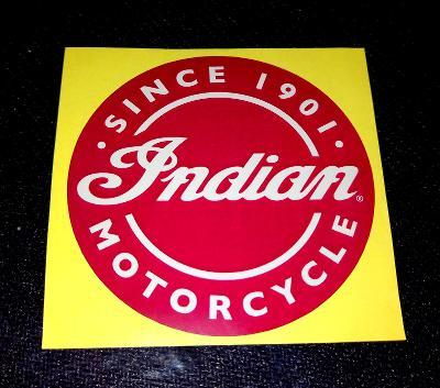 Indian MOTORCYCLE -SINCE 1901- (bílá samolepka pr.7-1x).