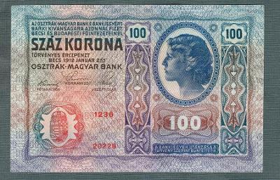 100 korun 1912 serie 1236 bez přetisku