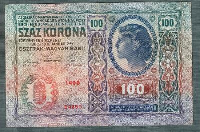 100 korun 1912 serie 1490 bez přetisku pěkný stav
