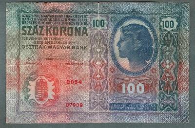 100 korun 1912 serie 2054 bez přetisku