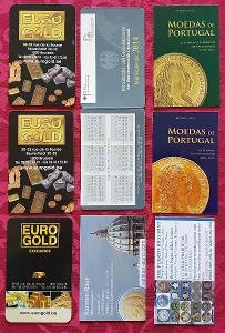 Kartičkové kalendáře/9 – numismatika / 2010-14 – 8 ks