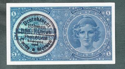 1 koruna 1940 PŘETISK serie A057 stav 1