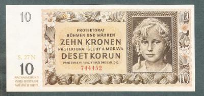 10 korun 1942 NEPERFOROVANA stav UNC