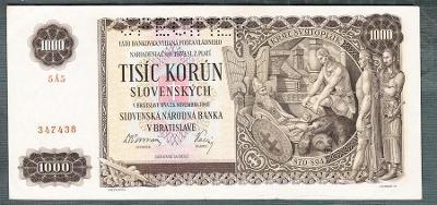 Slovensko 1000 sk 1940 serie 5A5 perf.