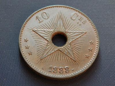 Belgické Kongo - 10 Centimes 1888. Luxusní stav.