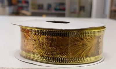 Dárková stuha  s drátky. (2.5 x 270cm) - Zlatá