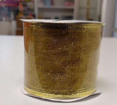Dárková stuha s drátky (6 x 270cm) - Zlatá