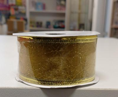 Dárková stuha s drátky (4 x 270cm) - Zlatá.