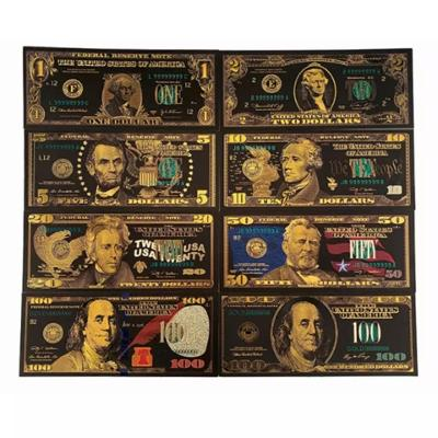 Sada 8ks dolarovych bankovek v černém provedení