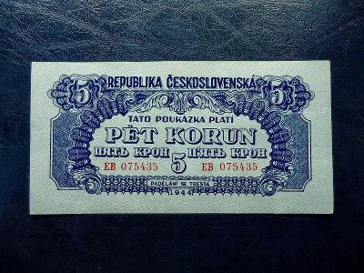 5 korun 1944 Serie EB NEPERFOROVANA