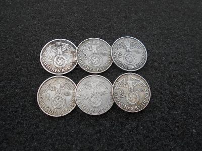 Stříbrné 2 Reichsmark 1937 kompletní serie A-D-E-F-G-J