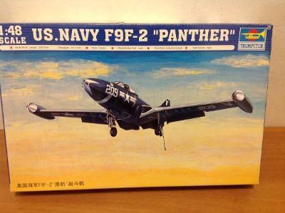"TRUMPETER - US. Navy F9F-2 ""PANTHER""+ maska Eduard, 1/48"