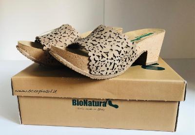 Nové pohodlné pantofle, vel. 39, Bio Natura kůže