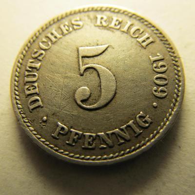 Německo, Kaiser Reich , 5 pfennig z roku 1909 J - R - HLEDANÁ
