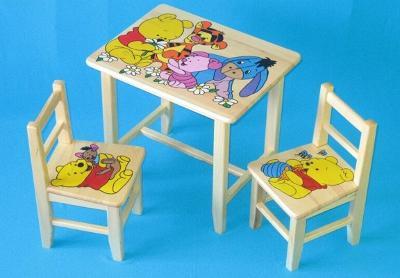 Dětský dřevěný stoleček, židličky a taburet Medvídek Pú W11S+2K+1T mix